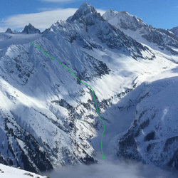 View from Aiguilles Rouges the day before, with intended line