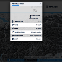 Aktuelle Wetterdaten in der Powder Map